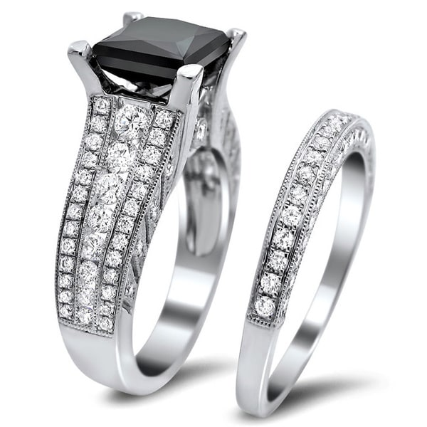 Noori 18k White Gold 4ct TDW Certified Black and White Diamond Bridal Set E