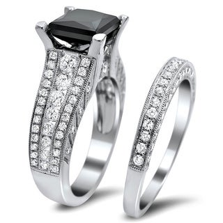 Noori 18k White Gold 4ct TDW Certified Black and White Diamond Bridal Set (E-F, VS1-VS2)