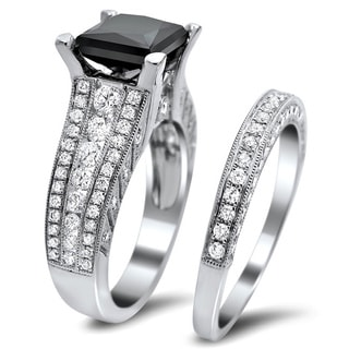 18k White Gold 4ct TDW Certified Black and White Diamond Bridal Set (E-F, VS1-VS2)