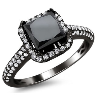 18k Black Gold 2.18ct TDW Black and White Diamond Princess Cut Ring (E-F, VS1-VS2)