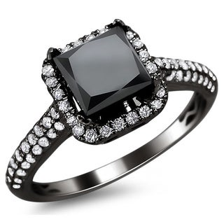 18k Black Gold 2.18ct TDW Certified Black and White Diamond Princess Cut Ring (E-F, VS1-VS2)