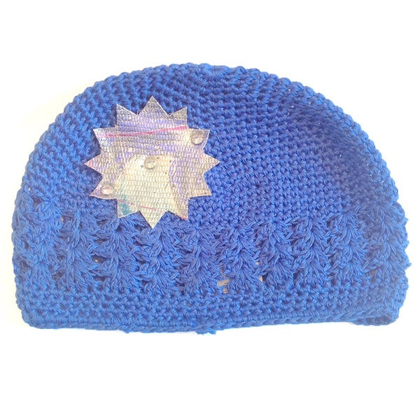 'Mini e Boutique' Leather Snowflake Crocheted Hat