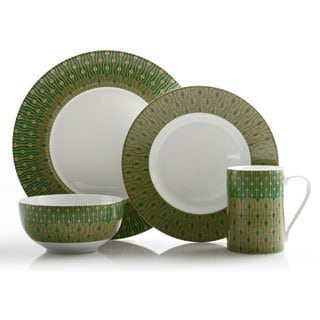222 Fifth Theorie Green 16-piece Dinnerware Set