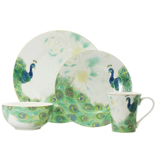 222 Fifth Lakshmi Peacock 16-piece Dinnerware Set