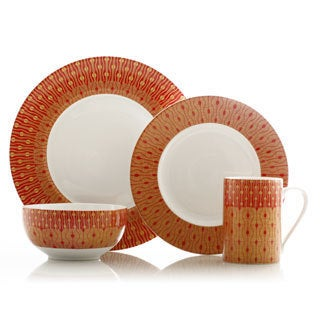 222 Fifth Theorie Red 16-piece Dinnerware Set