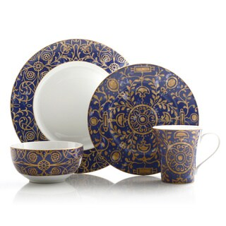 222 Fifth Pilar Blue 16-piece Dinnerware Set