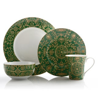222 Fifth Pilar Green 16-piece Dinnerware Set