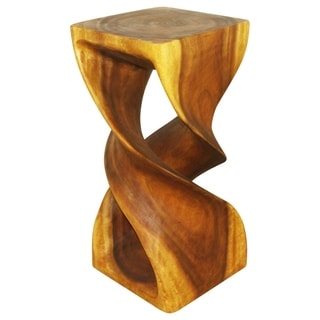 Hand-carved 14 x 30 Golden Oak Oiled Double Twist Stool (Thailand)