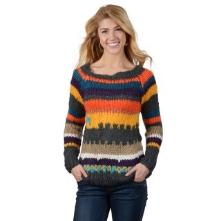 Journee Collection Junior's Scoop Neck Pocket Striped Sweater