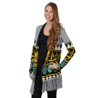 Journee Collection Junior's Fringed Open Front Cardigan