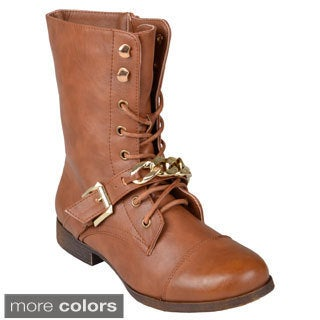Journee Collection Women's 'Kellie' Lace-Up Buckle-Strap Combat Boots