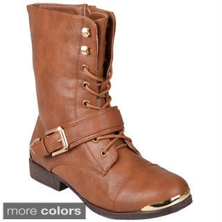 Journee Collection Women's 'Kellie' Medium Round-Toe Lace-Up Detail Boots