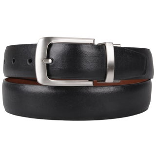 Joseph Abboud Men's Genuine Leather Reversible Belt with Silver-Tone Buckle