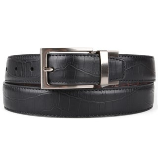 Joseph Abboud Men's Genuine Leather Reversible Croc Print Belt