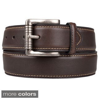 Joseph Abboud Men's Topstitched Genuine Leather Belt