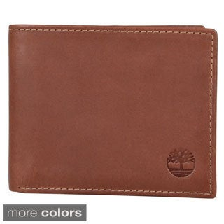 Timberland Men's Genuine Solid-Patterned Leather Bifold Passcase Wallet