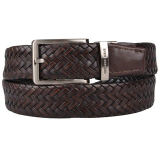 Geoffrey Beene Men's Genuine Leather Braided Reversible Belt