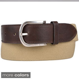 Tommy Hilfiger Men's Genuine Leather Trim Canvas Belt