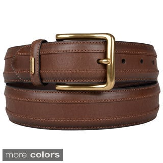 Tommy Hilfiger Men's Topstitched Genuine Leather Belt
