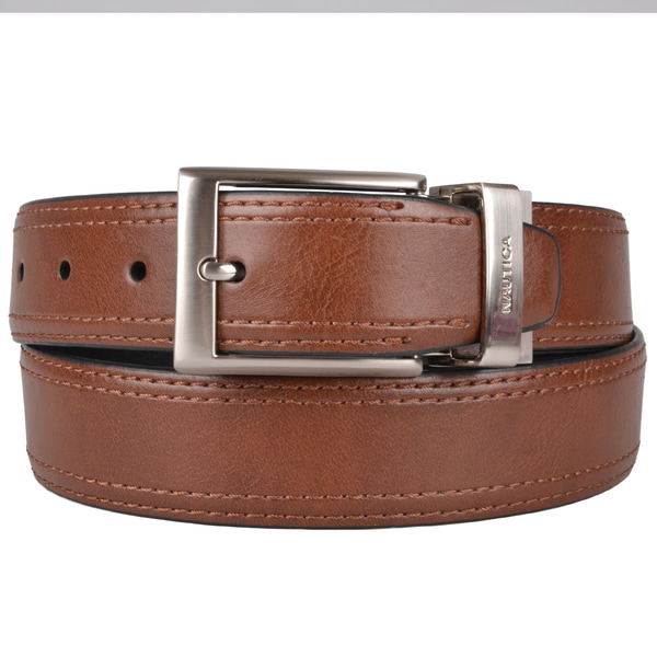 Nautica Men's Genuine Top-Stitched Leather Reversible Belt