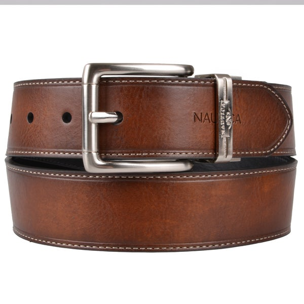 Nautica Men's Genuine Leather Black/Brown Reversible Belt