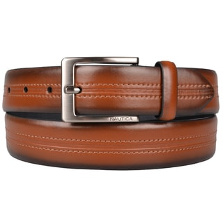 Nautica Men's Topstitched Genuine Leather Belt