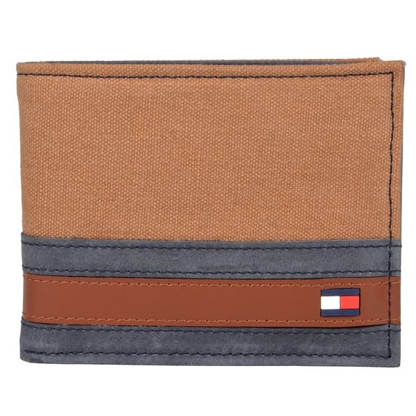 Tommy Hilfiger Men's Genuine Leather Top-Flap Passcase Bi-fold Wallet