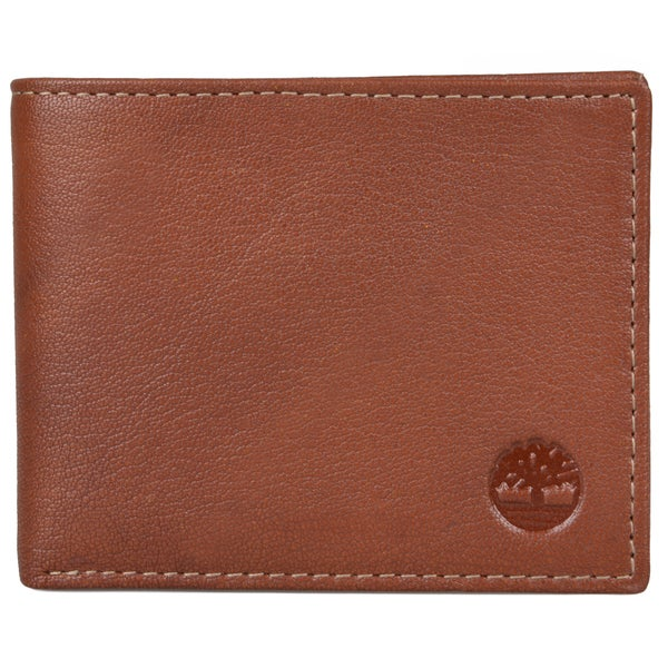 Timberland Men's Genuine Leather Bifold Passcase Wallet with Six Credit Card Slots