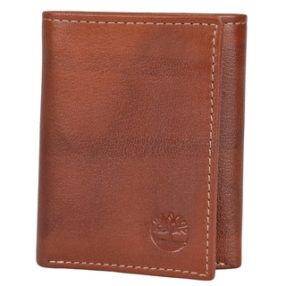 Timberland Men's Genuine Leather Trifold Wallet with Six Credit Card Slots