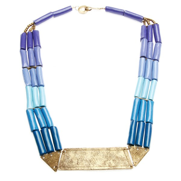 Hand-crafted Cleopatra Textured Metal Blue/ Purple Clay Bead Necklace