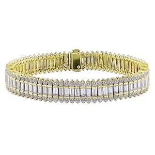 18k Yellow Gold 16 4/5ct TDW Baguette Cut Diamond Bracelet (G-H, SI1-SI2)