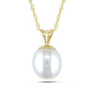 Miadora 14k Yellow Gold White Pearl Necklace (8-9 mm)