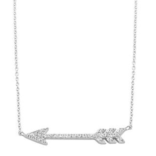 Fremada Rhodium Plated Sterling Silver Cubic Zirconia Arrow Necklace (18 inch)