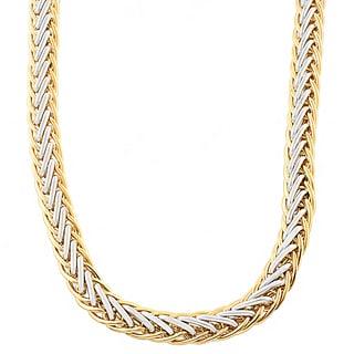 Fremada 14k Two-tone Gold 8.6-mm Fancy Braided Necklace (17 inch)