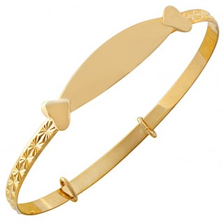 Fremada 10k Yellow Gold Adjustable Baby ID Bangle
