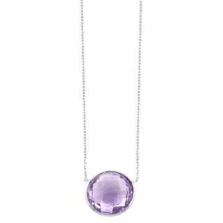 Fremada Sterling Silver Round Amethyst Necklace (18 inch)
