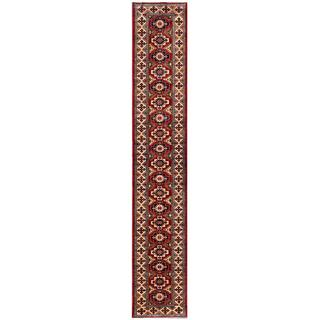 Afghan Hand-knotted Kazak Red/ Ivory Wool Rug (2'7 x 15'6)
