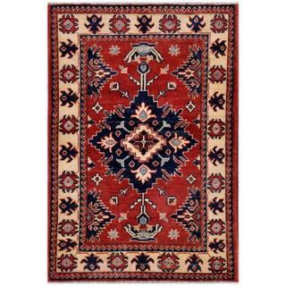 Afghan Hand-knotted Kazak Rust/ Ivory Wool Rug (2'8 x 3'10)