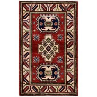 Afghan Hand-knotted Kazak 2'7 x 4'3 Red Wool Area Rug (Afghanistan)