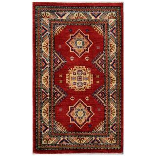 Afghan Hand-knotted Kazak Red/ Navy Wool Rug (2'6 x 4'1)