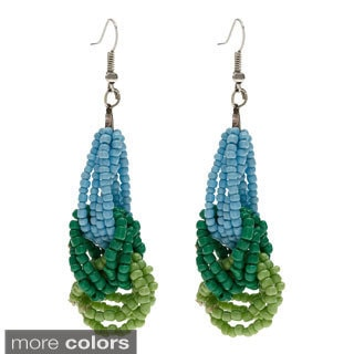 Hand-crafted Madaraka Beaded Loop Dangle Earrings (Uganda)