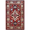 Afghan Hand-knotted Kazak Red/ Navy Wool Rug (2'9 x 4'4)