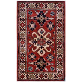 Afghan Hand-knotted Kazak 2'8 x 4'6 Rust Wool Area Rug (Afghanistan)