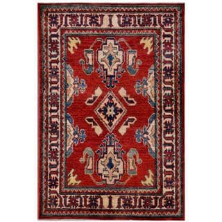 Afghan Hand-knotted Kazak Rust/ Navy Wool Rug (3' x 4'6)