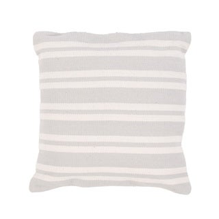 Handmade Gray Stripe Cotton 22x22-inch Throw Pillow