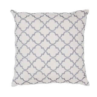 Handmade Gray Embroidered Geometric Cotton 20x20-inch Throw Pillow
