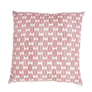 Handmade Red Printed 22x22-inch Throw Pillow