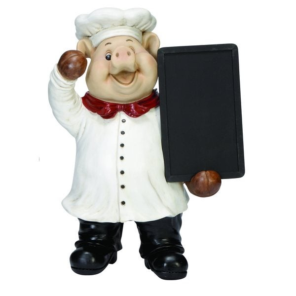 Polystone Chef Pig Chalk Board Figure