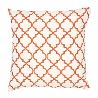 Handmade Orange Embroidered Geometric Design 20x20-inch Throw Pillow