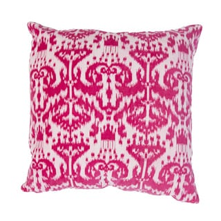 Handmade Pink Ikat Cotton 20x20-inch Throw Pillow